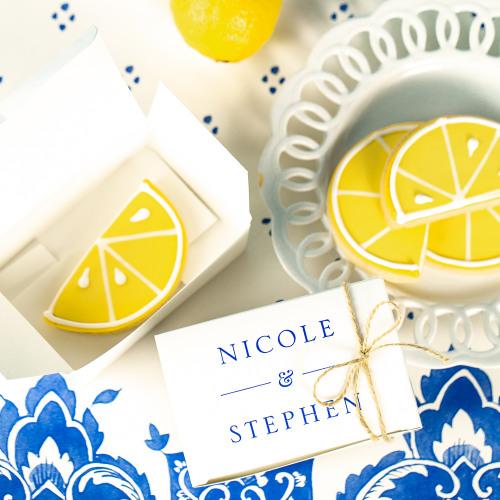 Personalized Citrus Garden Wedding Cake Slice Boxes