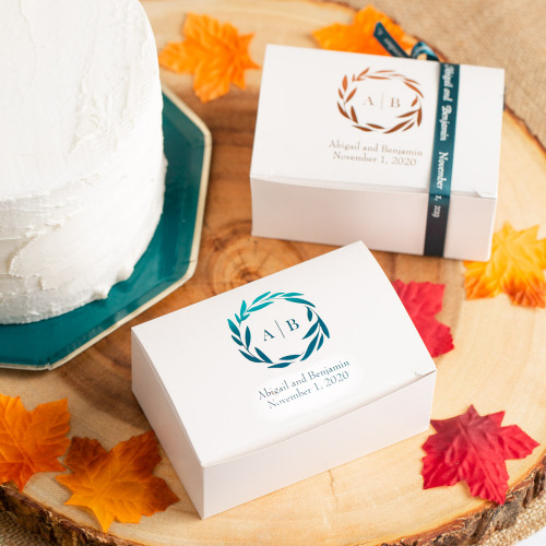 Personalized Fall Harvest Wedding Cake Slice Boxes