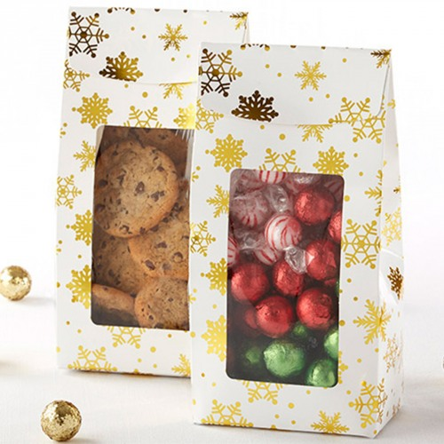 Gold Foil Snowflake Holiday Treat Bags