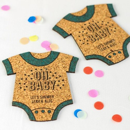 Personalized Baby Shaped Cork Coasters