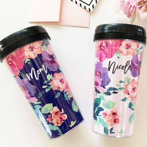 Personalized Floral Coffee Tumblers