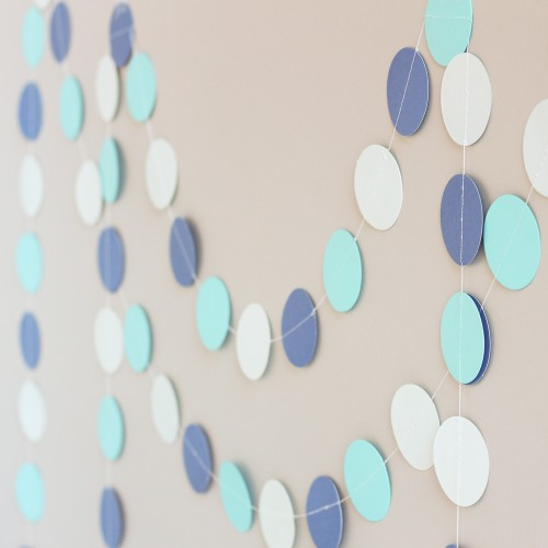 Blue Paper Circle Garland