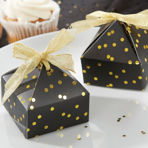 Black Gold Dotted Pyramid Favor Box