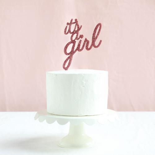 It's A Girl Glitter Baby Shower Cake Topper