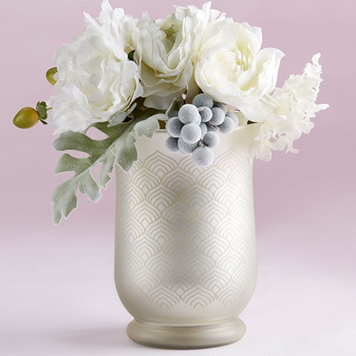 Frosted and Etched Pattern Glass Vase
