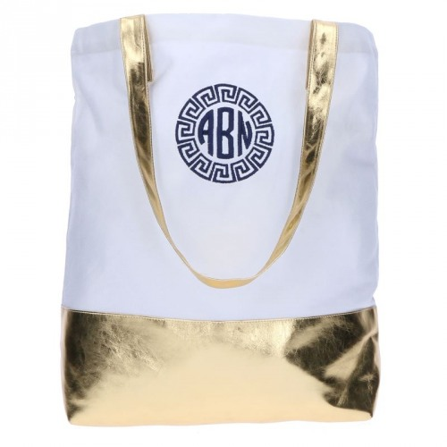 Personalized Metallic Dipped Tote