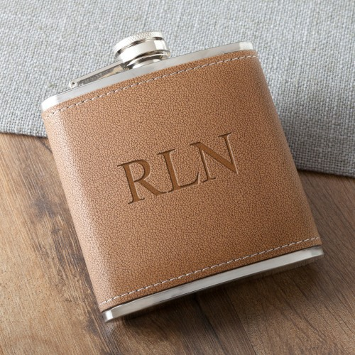 Personalized Tan Hide-Stitched Flask