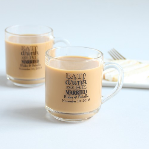 Personalized Eat Drink and Be Married Glass Mug