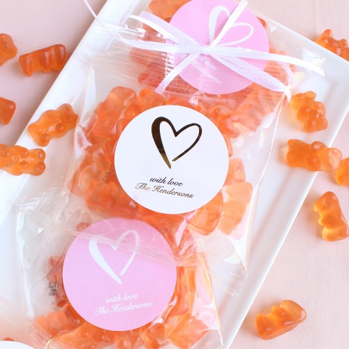 Personalized Heart Champagne Gummy Bear Packets