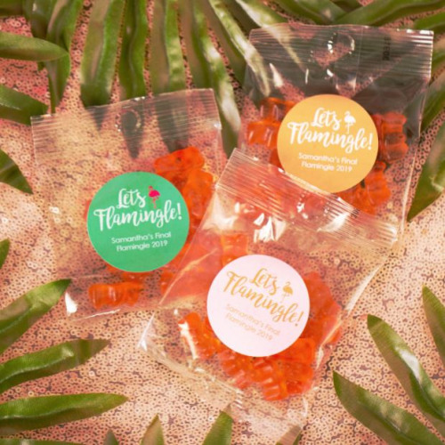 Personalized Let's Flamingle Bridal Champagne Gummy Bear Packets