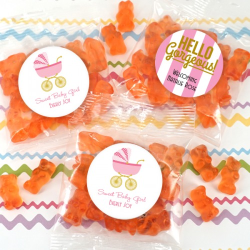 Personalized Baby Champagne Gummy Bear Packets