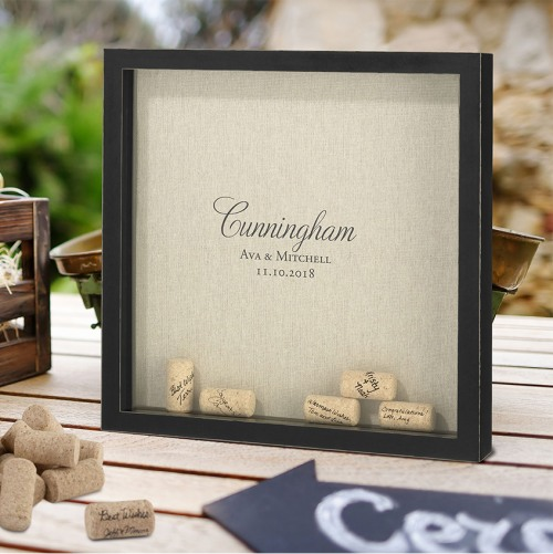 Personalized Script Wedding Signing Corks Frame