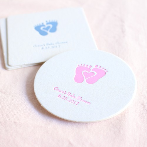 Personalized Baby Shower Paper Coasters
