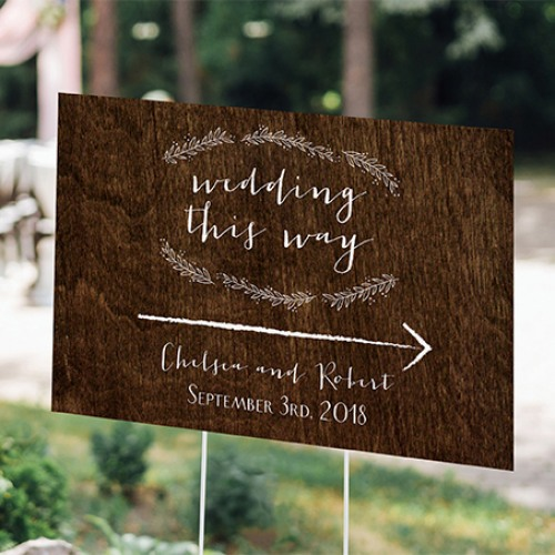Personalized Woodgrain Wedding Sign