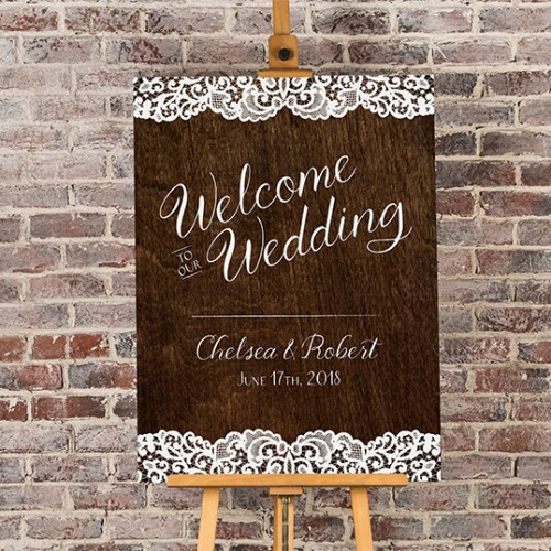 Personalized Welcome Woodgrain Welcome Poster