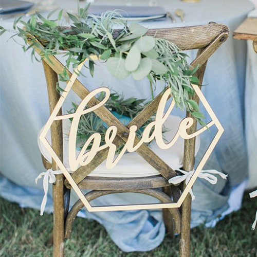 Wood Geometric Bride Chair Sign